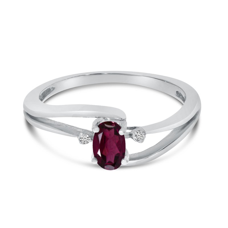 Color Merchants 14k White Gold Oval Rhodolite Garnet And Diamond Wave Ring
