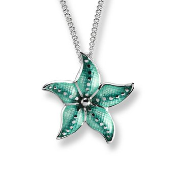 Green Starfish Necklace.Sterling Silver