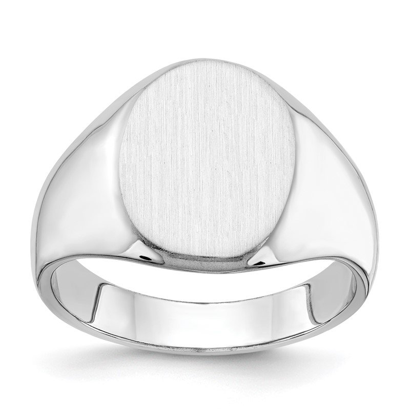Quality Gold 14k White Gold 15.0x11.5mm Closed Back Men's Signet Ring