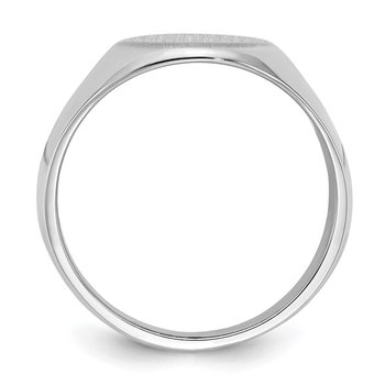 14k White Gold 15.0x11.5mm Closed Back Men's Signet Ring