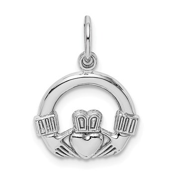 14k White Gold Claddagh Charm