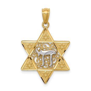 14k Two-tone Gold Polished Star of David w/Chai Pendant
