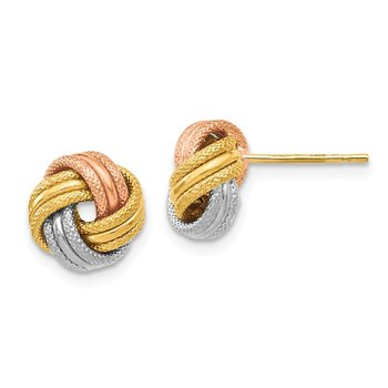 Leslie's 14K Tri Color Knot Polished D/C Post Earrings