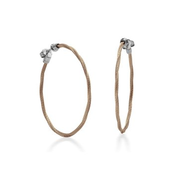 Carnation Cable 1.5″ Hoop Earrings with 18kt White Gold