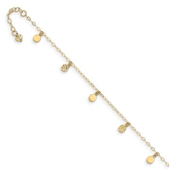 14k Hollow Dangle Circle 9in Plus 1in ext. Anklet