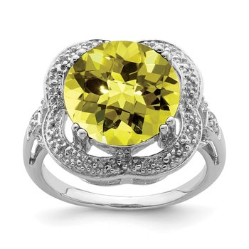 Sterling Silver Rhodium Checker-Cut Lemon Quartz Ring