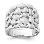Quality Gold Sterling Silver Rhodium-plated Polished & Satin Textured Nugget Ring