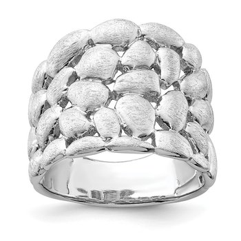 Sterling Silver Rhodium-plated Polished & Satin Textured Nugget Ring