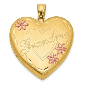 1/20 Gold Filled Grandma 23mm Enameled Heart Locket