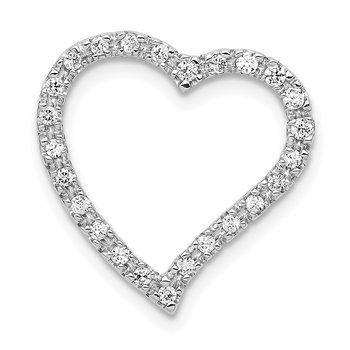14k White Gold 1/5ct. Diamond Curved Heart Chain Slide