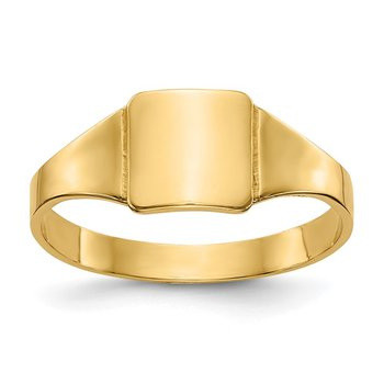 14k Polished Square Signet Baby Ring