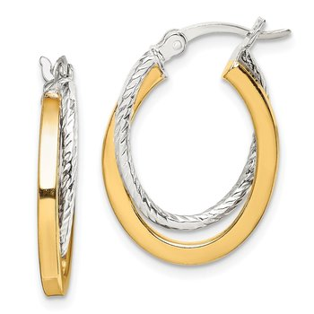 Sterling Silver and Gold Tone Double Hoop Earrings