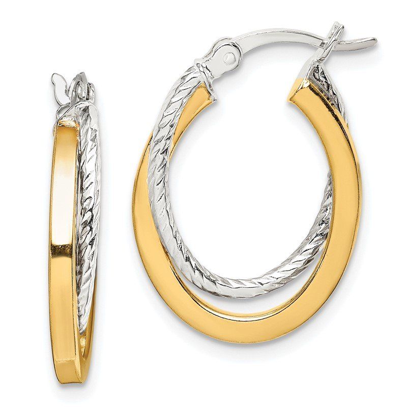 Quality Gold Sterling Silver and Gold Tone Double Hoop Earrings