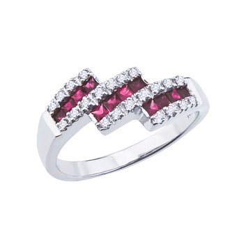 14k White Gold Ruby and Diamond Triple Bypass Ring