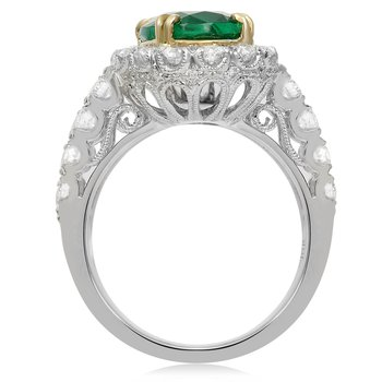Single Halo Emerald Ring