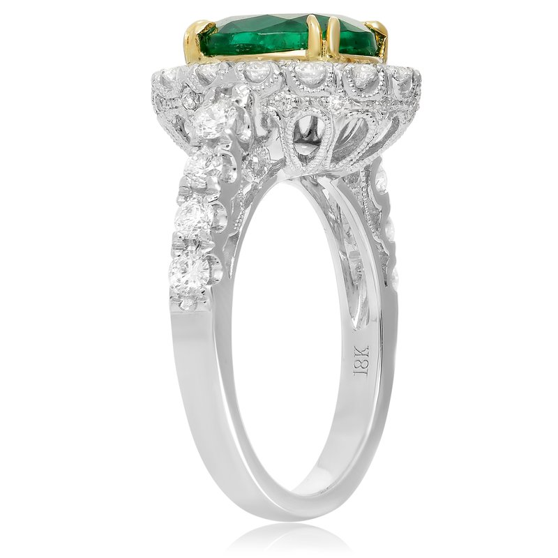 Roman & Jules Single Halo Emerald Ring