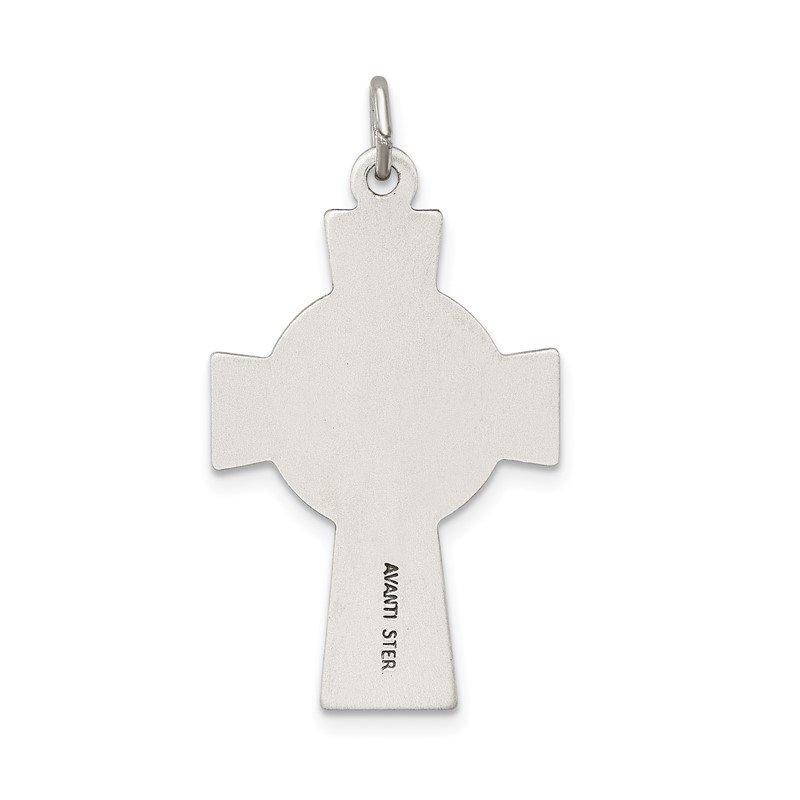 Sterling Silver Antiqued Satin Celtic Cross Pendant