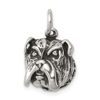 Sterling Silver Antiqued Bull Dog Charm