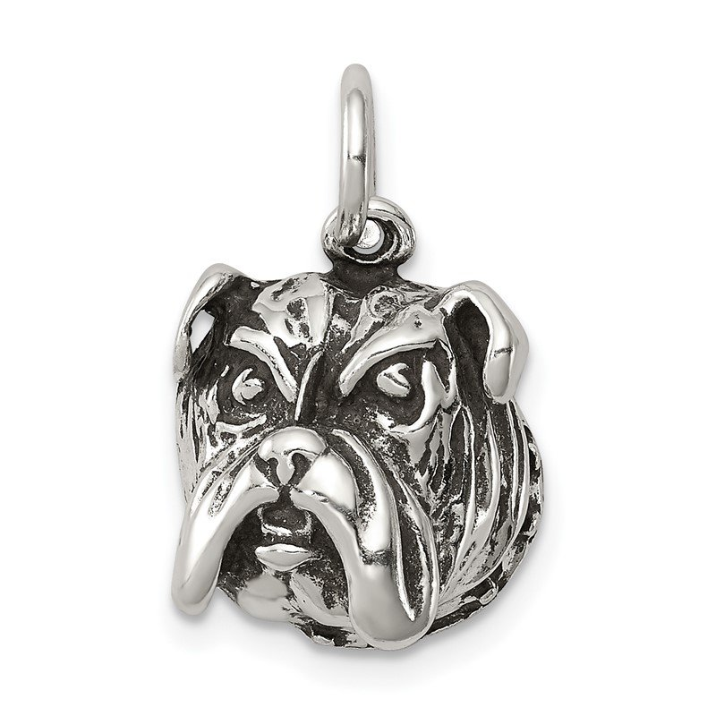 Quality Gold Sterling Silver Antiqued Bull Dog Charm