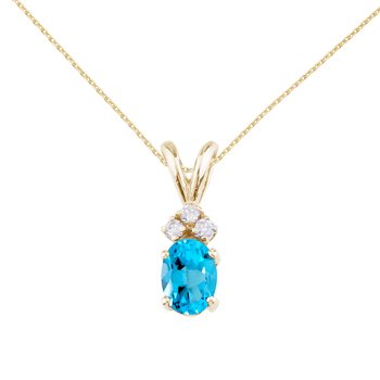 14K Yellow Gold Oval Blue Topaz and Diamond
