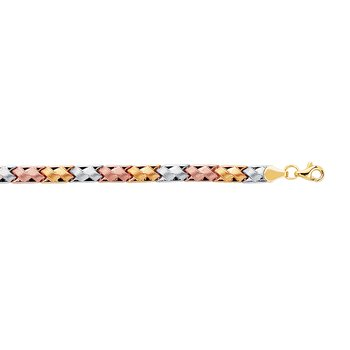 14K Tri-color Gold Satin Mini X Stampato Bracelet