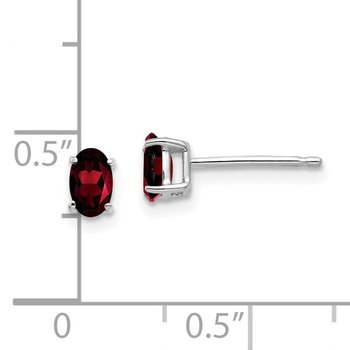 14k White Gold 5x3mm Oval Garnet Earrings