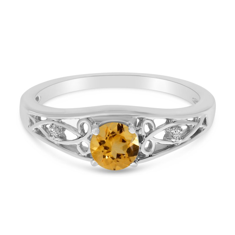 Color Merchants 10k White Gold Round Citrine And Diamond Ring