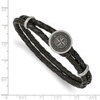 Chisel Stainless Steel Brushed Lasered Compass Black Leather 8.5in Bracelet