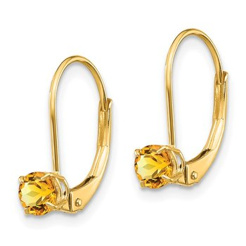 14k 4mm Round November/Citrine Leverback Earrings