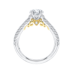 Carizza Round Cut Diamond Engagement Ring In 14K Two-Tone Gold (Semi-Mount)