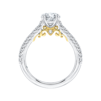 Round Cut Diamond Engagement Ring In 14K Two-Tone Gold (Semi-Mount)
