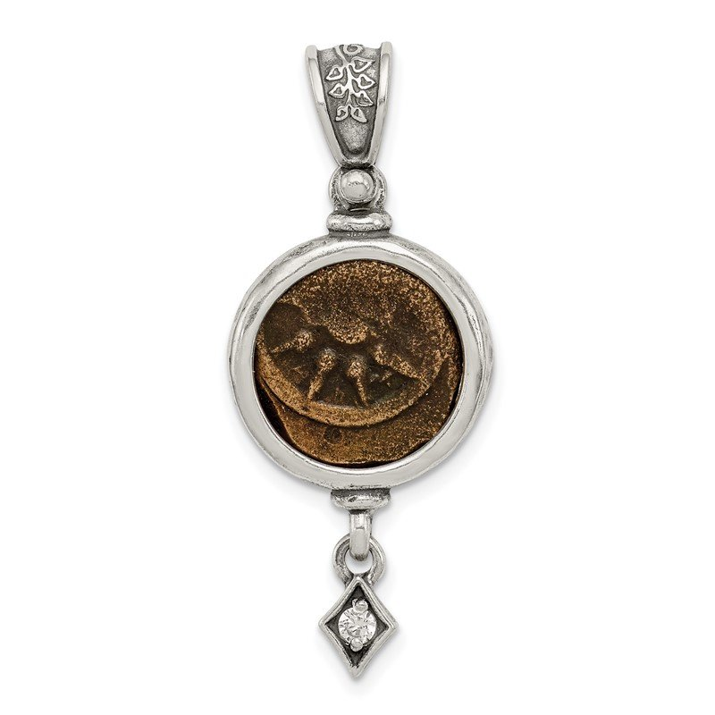 Quality Gold Sterling Silver Antiqued Widows Mite Coin CZ Dangle Pendant