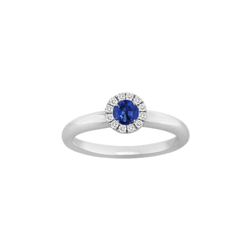 Spark Creations Sapphire & Diamond Halo Ring