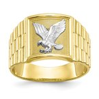 Quality Gold 10k & Rhodium Men's Eagle Ring