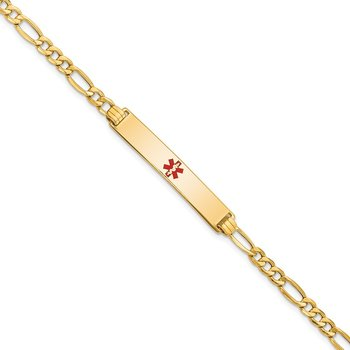 14K Semi-solid Medical Red Enamel ID Bracelet