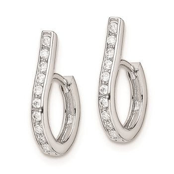 Sterling Silver Rhodium-plated CZ Oval Hinged Hoop Earrings