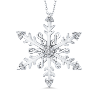 Sterling Silver 1/10 Ct Diamond Snow Flake Pendant with Chain