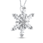 Essentials Sterling Silver 1/10 Ct Diamond Snow Flake Pendant with Chain