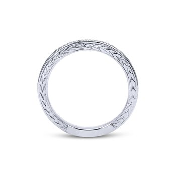 14k White Gold Engraved Milgrain Slim Stackable Ring