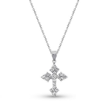 Diamond Cross Necklace in 14k White Gold with 19 Diamonds weighing .28ct tw.