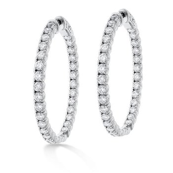 Diamond Inside Outside Hoop Earrings in 14K White Gold with 62 diamonds weighing 3.50ct tw