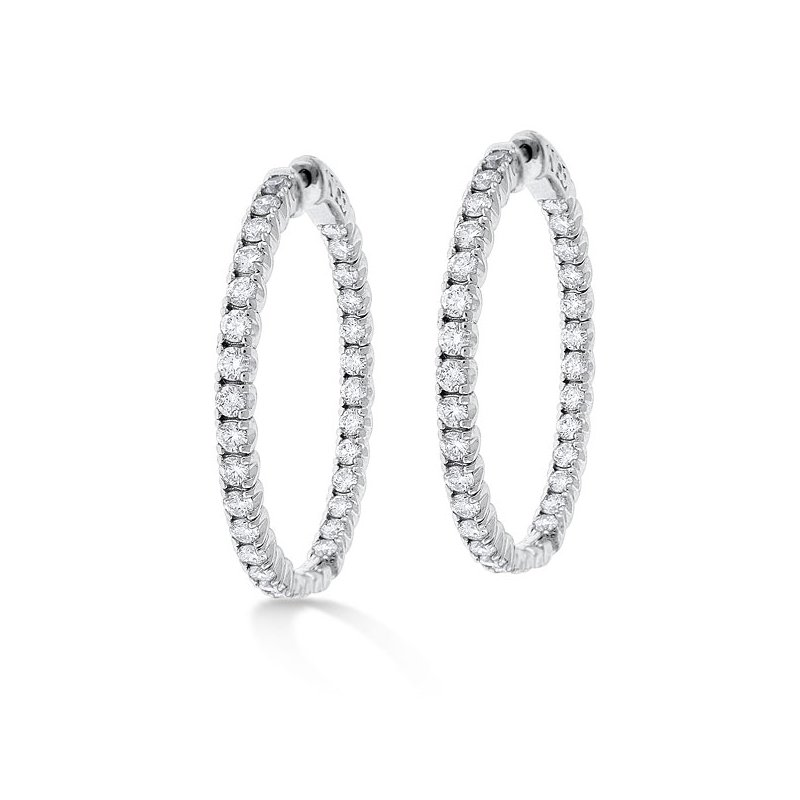 KC Designs Diamond Inside Outside Hoop Earrings in 14K White Gold with 62 diamonds weighing 3.50ct tw