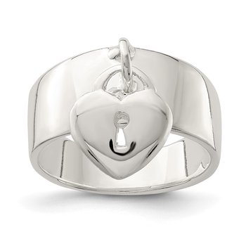 Sterling Silver Dangle Lock Ring