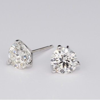 3 Prong 2.44 Ctw. Diamond Stud Earrings