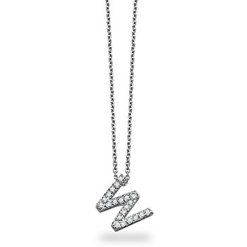 "Diamond Block Initial ""W"" Necklace in 14k White Gold with 21 Diamonds weighing .17ct tw."