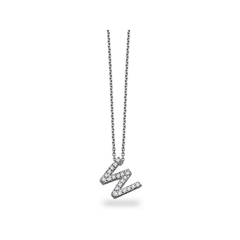 "KC Designs Diamond Block Initial ""W"" Necklace in 14k White Gold with 21 Diamonds weighing .17ct tw."
