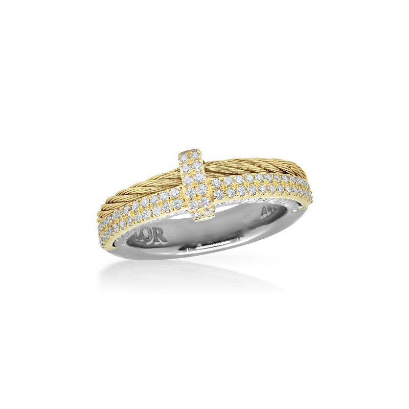 ALOR Yellow Cable Petite Opulence Ring with 18kt Yellow Gold & Diamonds