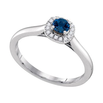 14kt White Gold Womens Round Blue Sapphire Solitaire Diamond Halo Bridal Ring 1/12 Cttw
