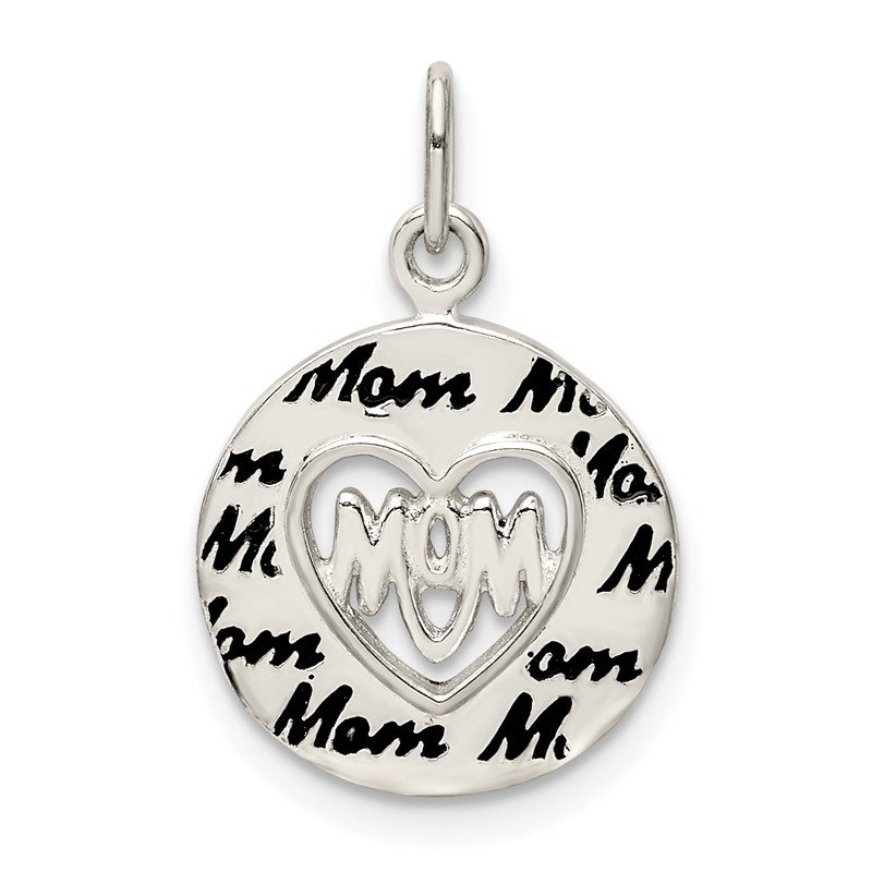 Quality Gold Sterling Silver Enamel MOM Charm