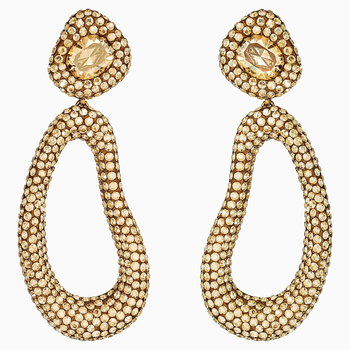 Tigris Drop Clip Earrings, Gold tone, Gold-tone plated